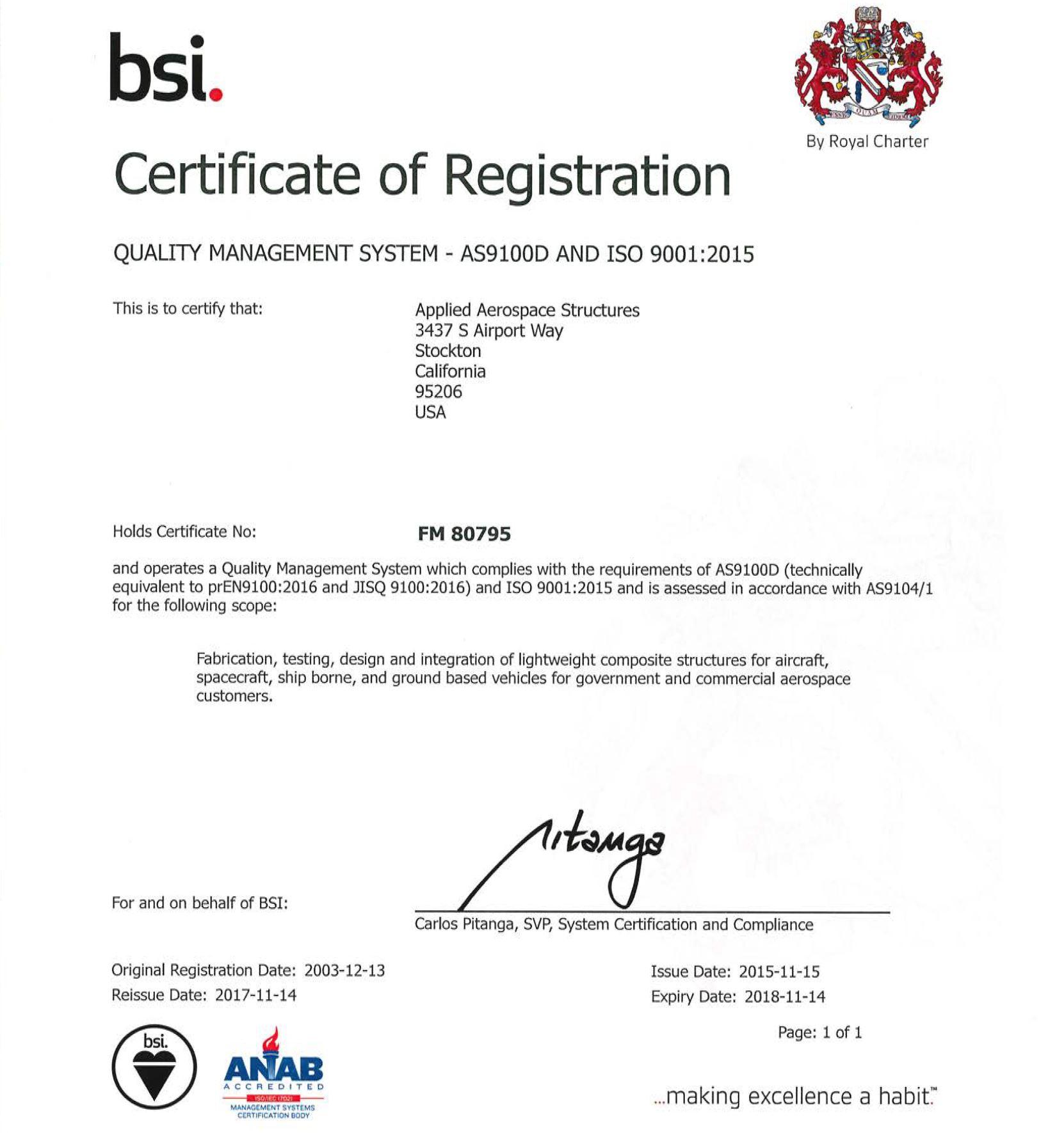 Aasc Receives As9100 Rev D Certification Aasc